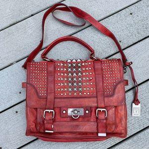 NWOT Frye Studded Cameron Messenger Bag Red